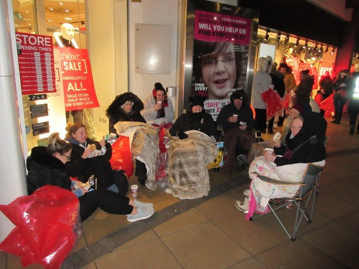shoppers queue from 2am for westwood cross sales the. Black Bedroom Furniture Sets. Home Design Ideas